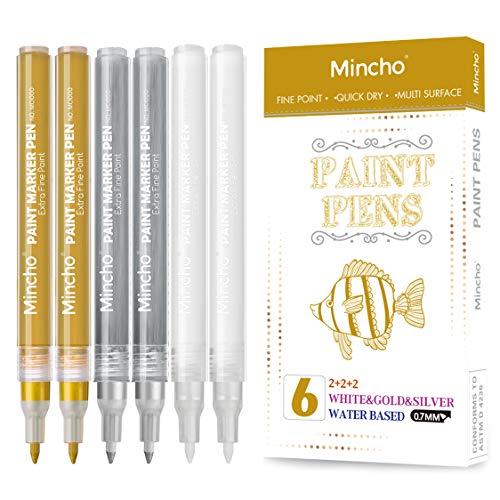 White Paint Pen, 0.7mm Acrylic 2 White, 2 Gold, 2 Silver Permanent Marker Pens for Wood Rock Plastic Leather Glass Stone Metal Canvas Ceramic Marker Extra Very Fine Point Opaque Ink, 6 Pack