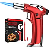 NANW Butane Torch, Refillable Kitchen Blow Torch Lighter Culinary Cooking Torch with Adjustable Flame for BBQ, Creme Brulee, Baking, Crafts and Cooking (Butane Gas not Included) (Red)