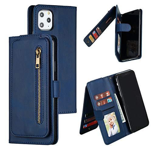 SNOW COLOR Coque iPhone 11 Pro Max Portefeuille, en Cuir Flip Case pour Bumper Protecteur Magnétique Fente Carte Housse Cover Coque pour Apple iPhone 11 Pro Max - COYKB030041 Bleu