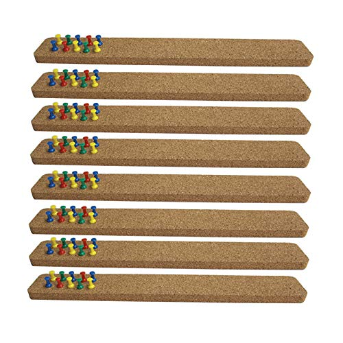 suituts 8 Pack Self Adhesive Corkboard Bar Strip, Cork Bulletin Board and Pin Boards for Wall, 15X2X0.5 Inch Framless Cork Board for Office, Kitchen, Home, with 80 Multi-Color Push Pins
