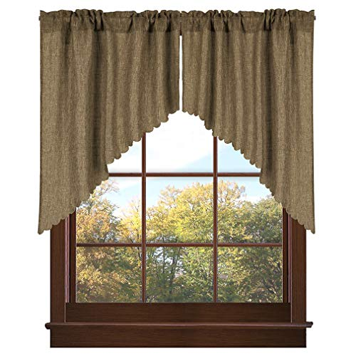 Valea Home Soft Burlap Look Swag Curtains Rustic Natural Tan Rod Pocket Kitchen Valance Curtain Panels for Small Window 36 inch Length, 2 Panels