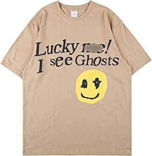Arnodefrance Lucky Me I See Ghosts Trendy Hip Hop Heavyweight Tshirts Letter Shirt