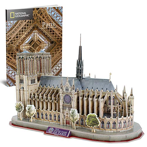 CubicFun National Geographic 3D Puzzle for Adults Kids Notre Dame de Paris Model Kits France Architecture Gothic Cathedral Model Building Puzzles with Booklet, Gifts for Woman Men, 128 Pieces