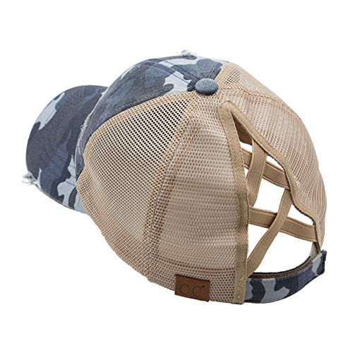 Funky Junque H-216-783-3184 Distressed Ponycap - Mesh - Blue Camo W/Criss Cross Back