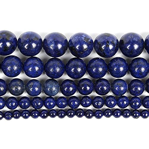 Perlas de piedra natural para la fabricación de joyas Lapislazuli Amatista Folletos Accesorios de pulsera redonda Hecho a mano 4-12mm-Lapis lazulis_10mm alrededor de 38pcs