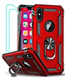 LeYi Compatible for iPhone Xs Max Case (Not Fit iPhone Xs) with Tempered Glass Screen Protector [2Pack] for Women Men, Military-Grade Phone Case with Ring Kickstand for iPhone Xs Max, Red