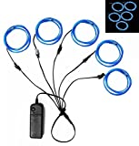 5in1 15Ft (5Pack 3Ft) Neon Strip Light Wire, Ourbest 3Mode Stay/Slow/Fast Flash...