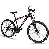 MATTE Mens Mountainbike, 26 Zoll 24 Gang-Doppelscheibenbremse Fahrräder mit High Carbon Stahlrahmen, Voll MTB Federung, Outroad Racing Radfahren, Unisex