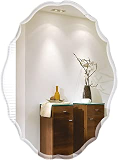 Qing MEI Heterosexual Bathroom Mirror Bathroom Explosion-Proof Mirror Wall-Mounted HD Makeup Mirror Basin Wall Anti-Fog Round Mirror Size: 60x90cm