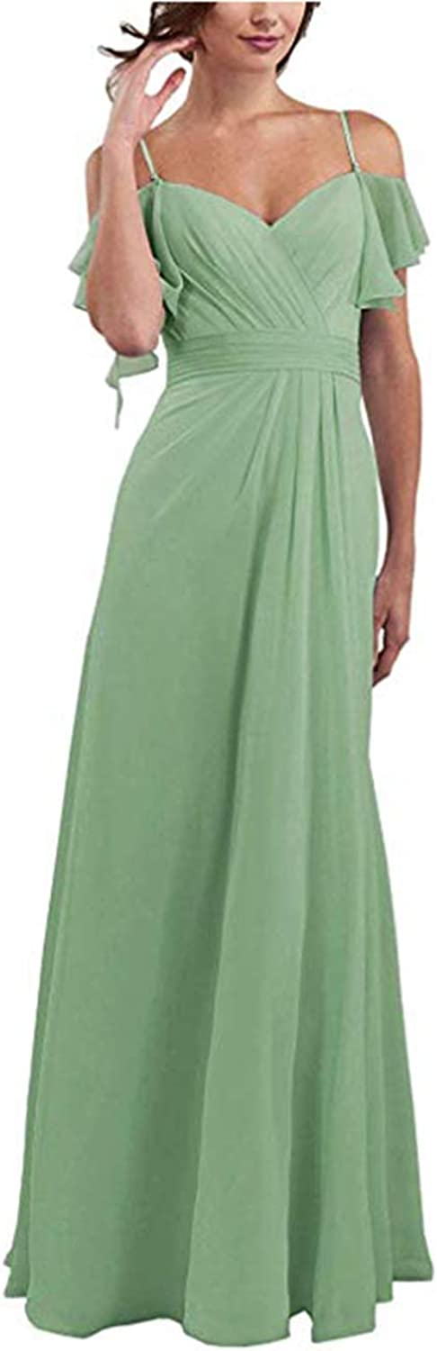 ONLYCE Spaghetti Straps Prom Dress with Shoulder Ruffles Bridesmaid Dress Long