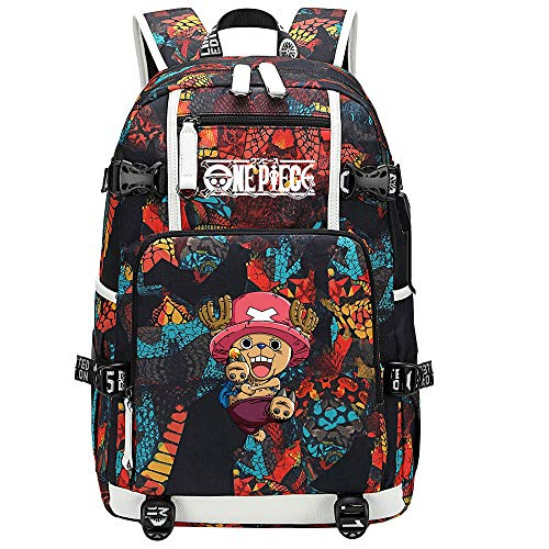 ZZGOO-LL One Piece Monkey·D·Luffy/Tony Tony Chopper Mochila de Anime Mochila de Escuela Secundaria para Estudiantes para Mujeres/Hombres con USB-A