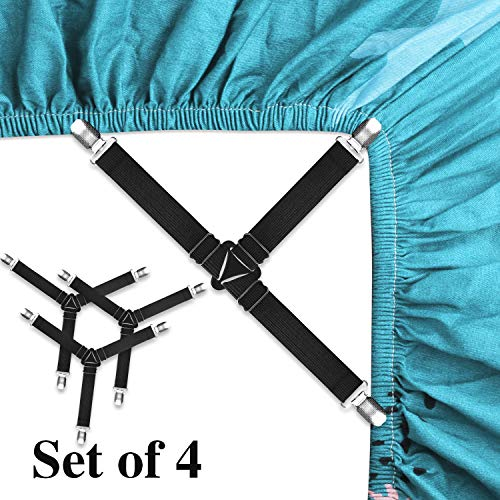 SOLARXIA Bed Sheet Holder StrapsAdjustable Bed Sheet Fastener  Bed Sheet Clip Elastic Mattress Cover Holder Fasteners Triangle Bed Sheet Keeper with Grippers Clips Triangle Black Set of 4