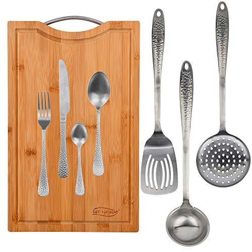 San Ignacio Origen Set 3 utensilios de cocina, cubertería y tabla de cortar, Acero Inoxidable