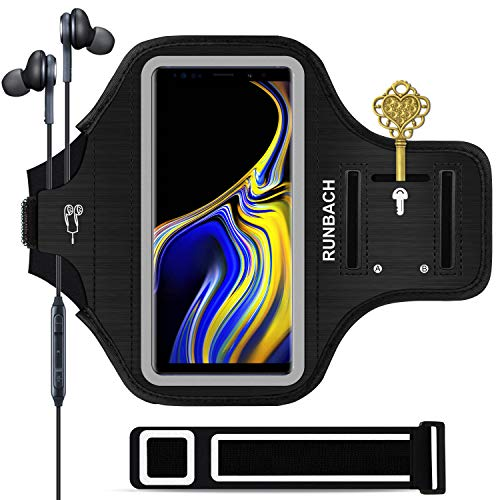 RUNBACH Galaxy Note 9/Note 10+ Armband, Sweatproof Running Exercise Gym Cellphone Sportband Bag with Fingerprint Touch/Key Holder and Card Slot for Samsung Galaxy Note 9/Note 10+ (Black)