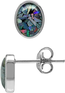 Silvershake 7X5mm Oval Shape Mosaic Opal White Gold Plated 925 Sterling Silver Stud Post Earrings