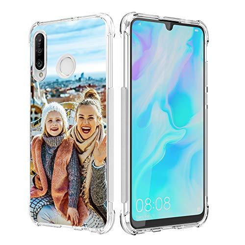SHUMEI Funda personalizada para Huawei P30 Lite, regalo de fotos personalizado absorción de golpes suave transparente TPU cubierta DIY HD Picture