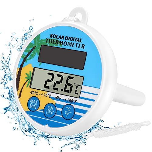 Gafild Termometro Digitale per Piscina Solare,Termometro Galleggiante Piscina con precisione del termometro per Esterni/Interni, Vasche, Spa e Acquari