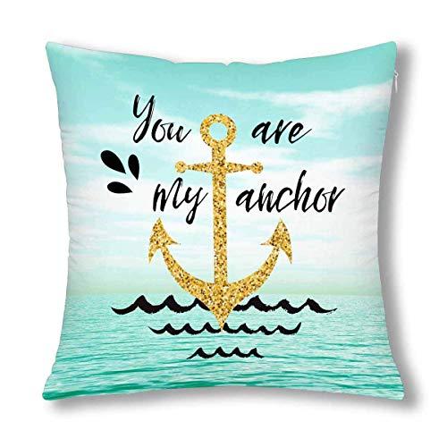 fudin You are My Anchor Nautical Anchor - Funda de cojín (45,7 x 45,7 cm), diseño de ancla náutica