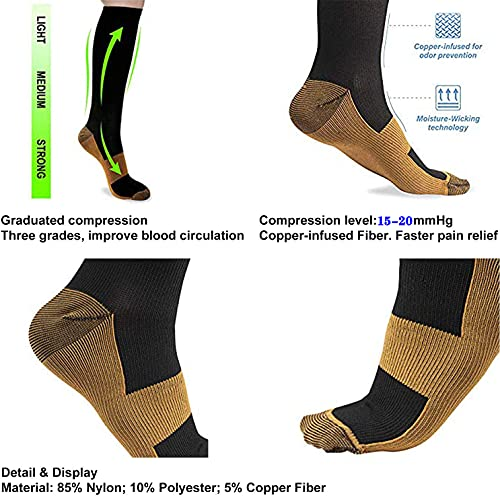8 Pairs Copper Compression Socks for Men & Women - Best for Running,Athletic,Medical,Pregnancy and Travel -15-20mmHg (A - Color 1, S/M)