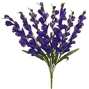 "Silk Flower Arrangements Purple Gladiolus Artificial Flowers 26"" Tall Tropical Arrangement Fake Silk Glads Faux, for Wedding and Craft Supplies"