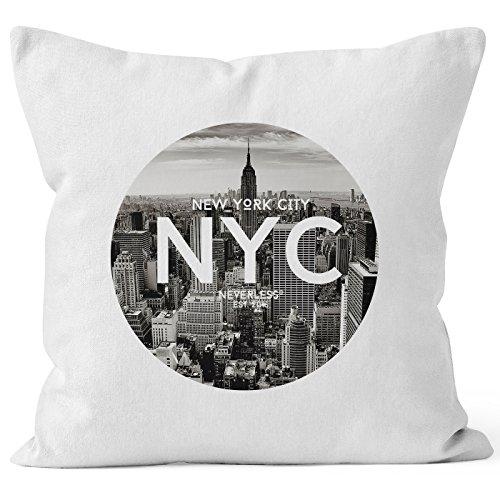 Autiga Kissenbezug Kissen-Hülle 40x40 NYC New York City Manhatten Skyline Fotoprint Deko-Kissen aus Reiner Baumwolle weiß 40cm x 40cm
