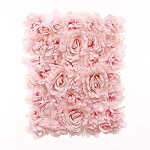 Blush Blooms Decorative Artificial Flower Panel – Flower Wall & Backdrop, Wedding, Bridal Shower, Baby Shower, and Event Decor