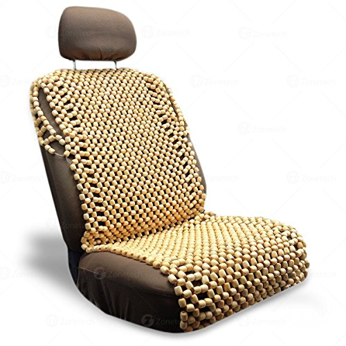Zone Tech Natural Royal Wood Bead Seat Cover Massage Cool Premium Comfort Cushion - Reduces Fatigue The Car or Truck or Your Office Chair