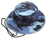 Summer Outdoor Boonie Hunting Fishing Safari Bucket Sun Hat with Adjustable Strap (Blue Sky Camo,SM)