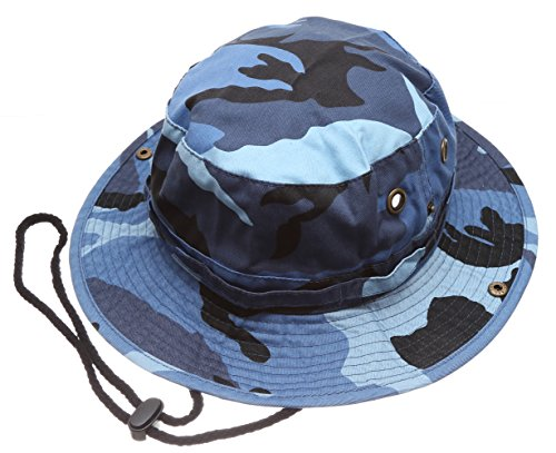 Summer Outdoor Boonie Hunting Fishing Safari Bucket Sun Hat with Adjustable Strap (Blue Sky Camo,SM)