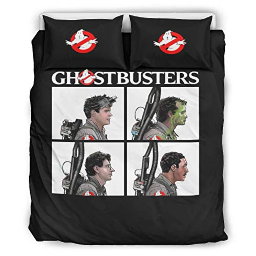 Nitian Ghostbusters Logo Chic Design Duvet Cover Set Super Soft Single Bed Bedding Sets for Boys Girls with Zip Closure, Polyester, White, 168x229cm