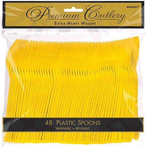 Premium Heavy Weight Plastic Spoons | Sunshine Yellow | Pack of 48 | Party Supply