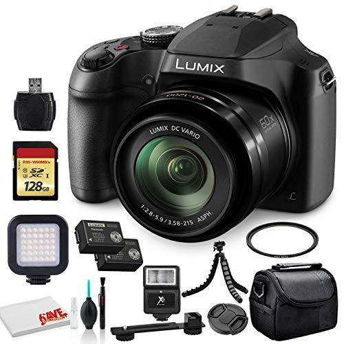 Panasonic Lumix DC-FZ80 Digital Camera (DC-FZ80K) - Bundle - with 128GB Memory Card + LED Video Light + DMW-BMB9 Battery + Digital Flash + Soft Bag + 12 Inch Flexible Tripod + Cleaning Set + More