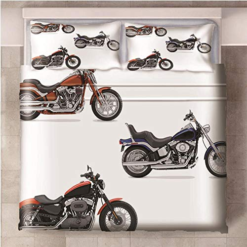 NHBTGH Duvet Cover Motorcycle Printed Polyester Bedding Set King Size with Zipper Closure + 2 Pillowcases Easy Care Anti-Allergic Soft & Smooth
