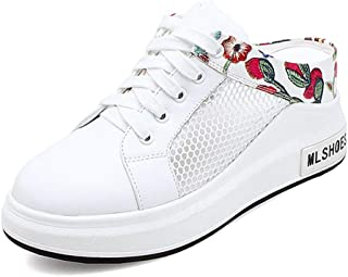 Women's Comfortable Mesh Leather Platform Lace-up Walking Sneakers Thick Bottom Casual Sports Shoes