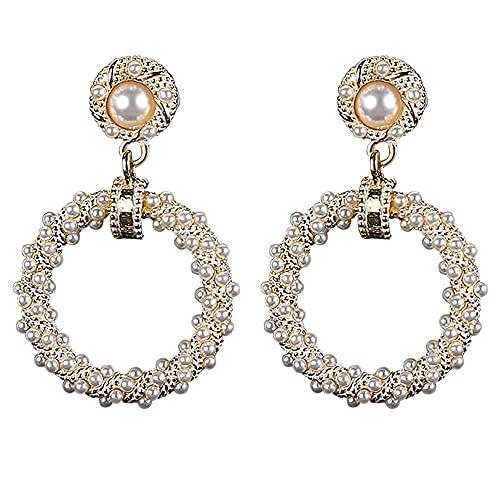 AZPINGPAN Nuevos pendientes colgantes traseros de perlas de imitación retro de moda, estilo europeo y americano, anillo corto, aleación de plata de ley 925, agujas para el oído, exquisitas joyas de re