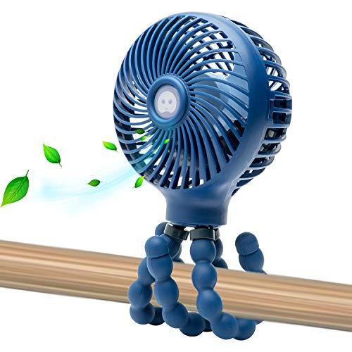Mini Handheld Personal Portable Fan, Baby Stroller Fan, Car Seat Fan, Desk Fan, with Flexible Tripod Fix on Stroller Student Bed Bike Crib Car Rides, USB or Battery Powered (Navy Blue)