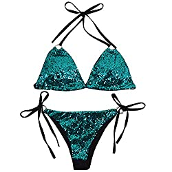Green Triangle Bikini Set 2 Pieces Cross High Neck Halter
