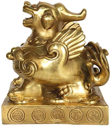 Estatua De Feng Shui Pixiu Decoración De Escultura De Cobre Puro Pi Yao, Atraer Riqueza Y Buena Suerte, La Mejor Decoración De Oficina En Casa, 8Cm
