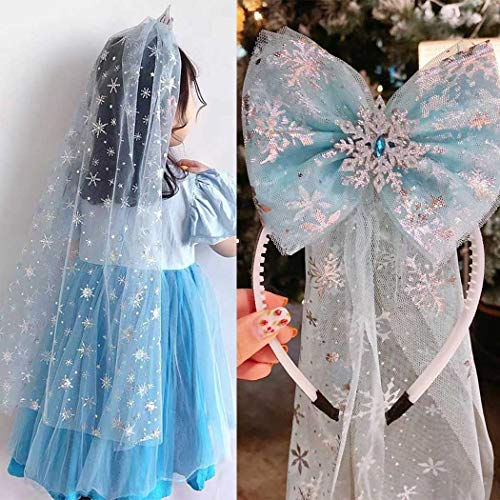 Unicra Diadema de corona azul para niñas con velo lindo lazo, accesorio...