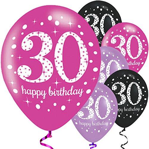 Feste Feiern Luftballon Set zum 30. Geburtstag, 30ter Geburtstag Deko Mann Frau, Pink Schwarz Lila metallic 6 Stück Zahlenballon 30 Happy Birthday Jubiläum