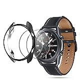 Seltureone (2+1 Stück) Kompatibel für Samsung Galaxy Watch 3 45mm Gehäuseabdeckung mit Bildschirmschutzfolie, weiche TPU-Schutzhülle aus gehärtetem Glas für Galaxy Watch3 45mm, Schwarz
