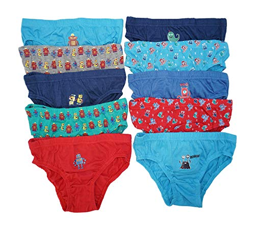 10er Pack Jungen Slips | Kinder Unterhosen Gr. 98-128 98-104 / Mehrfarbig