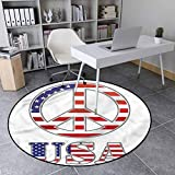 Groovy Polyester Vintage Round Area Rug for Girls Rooms 70s Peace Sign American 3' in Diameter