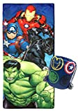 Jay Franco Marvel Avengers Battle Formation Slumber Sack - Cozy & Warm Kids Lightweight Slumber Bag/Sleeping Bag - Featuring Captain America, Iron Man, Black Panther, Hulk (Official Marvel Product)