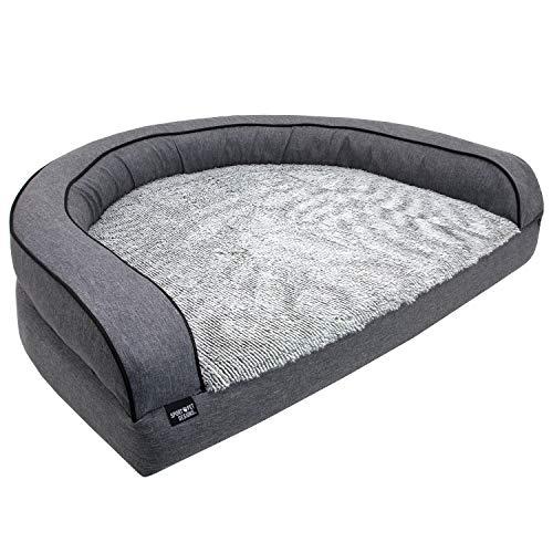 SportPet Designs Luxury Sofa Lounge Pet Bed, Blanket Reversible, Water-Resistant Liner, Top Memory Foam - Large, Gray (CM-10055-CS01)