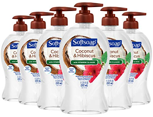 Softsoap Hydrating Liquid Hand Soap, Coconut & Hibiscus - 11.25 Fluid Ounce, 6 pack