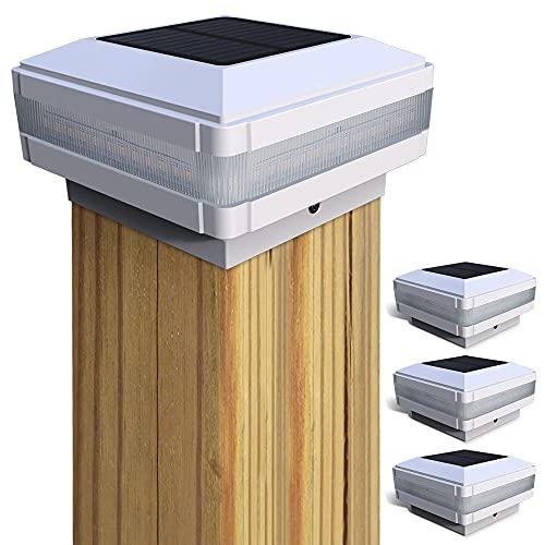 Pfostenkappen Licht Solar, GEYUEYA Home Solar Zaunpfosten Lampe Solar Säulenlampe Landschaft Lampe Solar Lampe Außen IP65 Wasserdicht für hölzerne Pfosten, Plattform, Patio, Zaun beleuchtung(4 Stück)