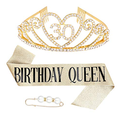 Heyu-Lotus 30 Ans Decoration Anniversaire Femme Couronne Anniversaire Decoration Cadeau Accessoires Happy Birthday Echarpe Anniversaire Femme pour 30 Ans (Or)