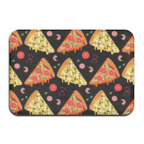 NA Cartoon Pizza Slices and Ingrediënten Rug Deur Mat Entrance Rug Floor Mats voor front Outside deuren Unit Carpet 50 x 80 x 1,3 cm