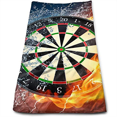 Kotdeqay Dart Board Target Ice Fire Multipurpose Soft Highly Absorbent Cotton Hand Towels Quick Dry for Daily Use 30cm X 70cm